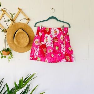 Lilly Pulitzer pink floral mini skirt small